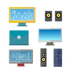 Set of computer peripherals vector
