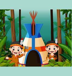 two girl american indians at campsite vector image