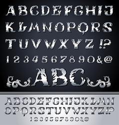 Vintage alphabet set on background vector image