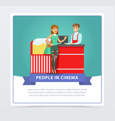 young woman buying popcorn from salesman people vector image vector image