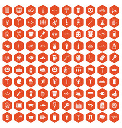 100 beer icons hexagon orange vector