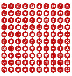 100 gym icons hexagon red vector
