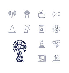 13 signal icons vector image