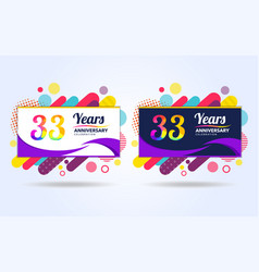 33 years pop anniversary modern design elements vector