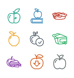 9 apple icons vector