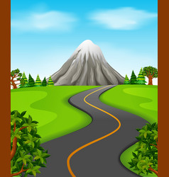 a road going to the mountain vector image