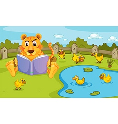 A tiger reading beside a pond with ducklings vector