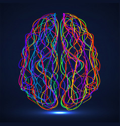 Abstract human brain colorful striples and vector
