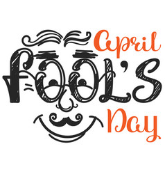 april fools day smile man face doodle vector image