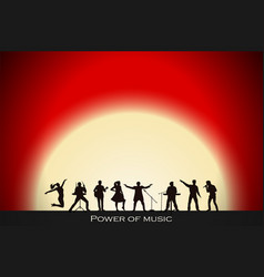Band show on red sunset background festival vector