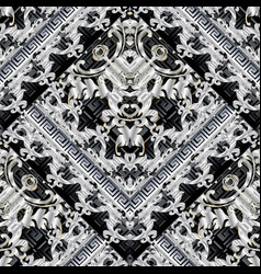 baroque black and white 3d seamless pattern vector image
