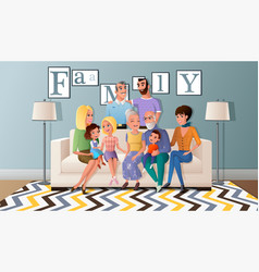 big family gathered together cartoon vector image