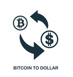 bitcoin to dollar icon mobile app printing web vector image