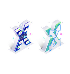 blue 3d isometric letter x made with virtual vector image