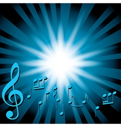 blue music background with notes and flash vector image