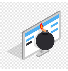 Bomb and computer monitor isometric icon vector