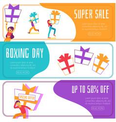 boxing day super sale banner set vector image