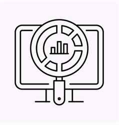business charts line icon on white background vector image