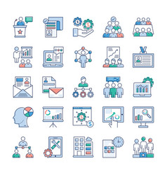 business management icons pack vector image