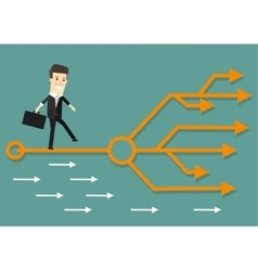 Businessman chooses the right path Success vector image