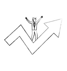 businessman standing on success arrow business vector image