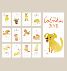 calendar 2018 cute monthly calendar with vector image