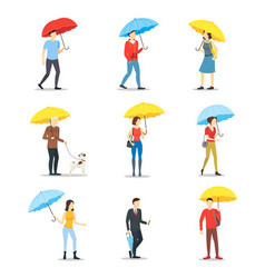cartoon characters people holding umbrella set vector image