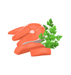 cartoon steak and pieces salmon and green raw vector image