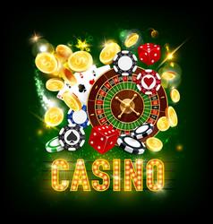 casino poker jackpot golden coins splash win vector image