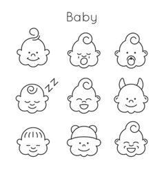 Children faces icon set vector