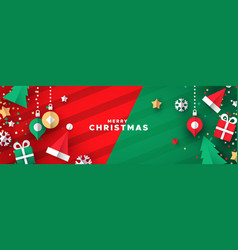 christmas banner papercut holiday ornaments vector image