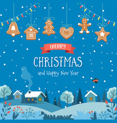 Christmas card with cute landscape at night and vector