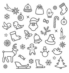 Christmas icon set doodle christmas holiday vector