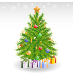 Christmas tree with candles and baubles vector image