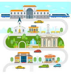City infographic elements town flat vector