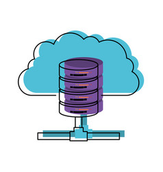 Cloud and network server storage icon in vector