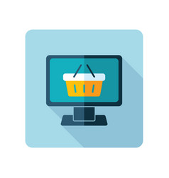 computer display with shopping cart icon vector image