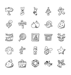 Creative christmas doodles set vector