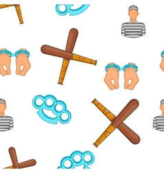 Crime and punishment pattern cartoon style vector