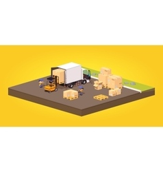 Cube World Loading or unloading of the cardboard vector image