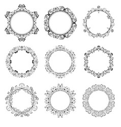 decorative round floral frames set vector image