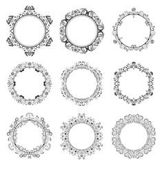 Decorative round floral frames set vector