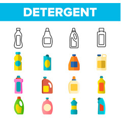 Detergent washing liquid thin line icons vector
