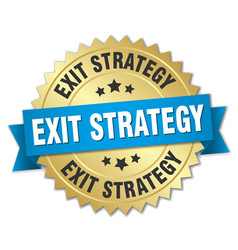 Exit strategy round isolated gold badge vector