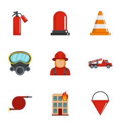 extinguish fire icons set cartoon style vector image