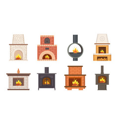 fireplaces with shelves and different pavement vector image