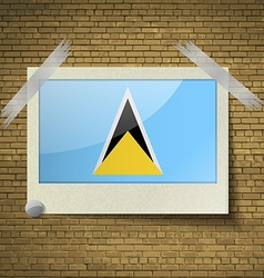 Flags Saint Luciaat frame on a brick background vector image