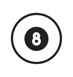 Flat icon in black and white style billiard ball vector