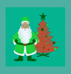 Flat shading style icon christmas tree santa claus vector