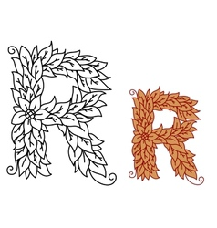 Floral and foliate font uppercase letter R vector image
